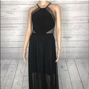 Morgan & Co Lace halter black dress